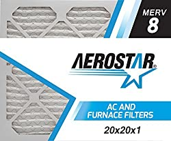 Aerostar Pleated Air Filter, Merv 8, 20x20x1, Pack Of 6, Made In The Usa