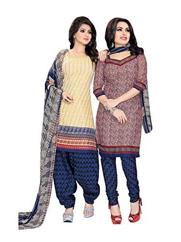 CRAZYBACHAT Crazy Bachat Presents Indian Ethnic Casual Wear Combo Pack Salwar Kameez Beige Rust Cotton (Rust Salwar)