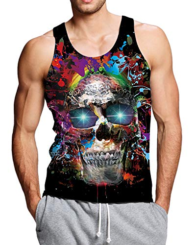 Adicreat 3D Print Tank Top for Men Workout Colorful Sleeveless Shirt Cool Skeleton Skull Graphic Tees Gym Vest -