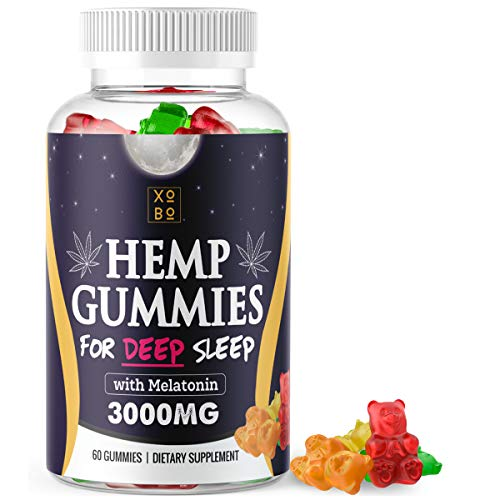 XOBO-Hemp-Gummies-for-Relaxation-Sleep-Anxiety-Relief-Strong-3000mg-Hemp-Edible-Gummy-Bears-In-Delicious-Fruit-Flavors-50mg-Hemp-Seed-Extract-10mg-Melatonin-Gummies-for-Insomnia-60-Servings