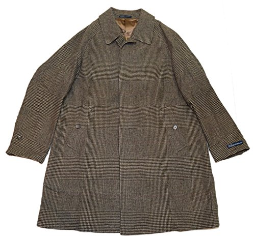 Ralph Lauren Polo Men Glen Plaid Wool Overcoat Jacket Coat Italy Brown Beige 44R
