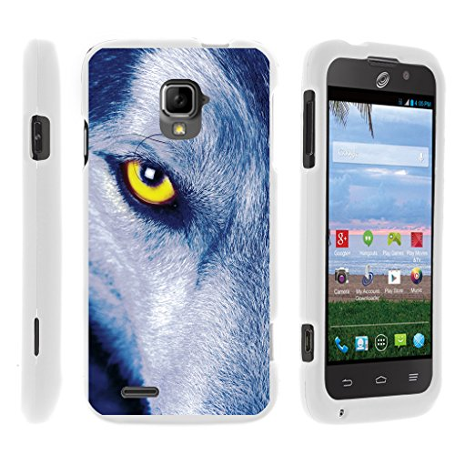 TurtleArmor | Compatible for ZTE Rapido Case | Z932L | Z932C [Slim Duo] Ultra Fitted Compact Slim Hard Cover Snap On Shell Protector on White Animal Design - Wolf - Rapido Phone Lte Cover For Zte