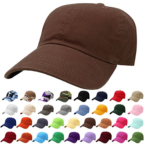 (Falari Baseball Cap Hat 100% Cotton Adjustable Size Dark Brown)