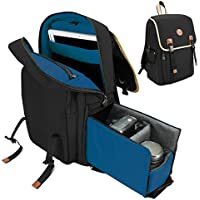 GOgroove Mid-volume Multifunction DSLR Camera Backpack (Black) w/ Interior Tablet Sleeve , Quick Slide Camera Compartment , Phone Storage and Dual Accessory Areas for Canon , Nikon , Olympus and More