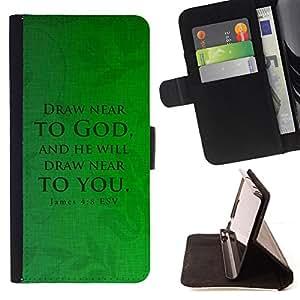 BullDog Case - FOR/Samsung Galaxy S3 III I9300 / - / JAMES 4:8 DRAW NEAR /- Monedero de cuero de la PU Llevar cubierta de la caja con el ID Credit Card Slots Flip funda de cuer