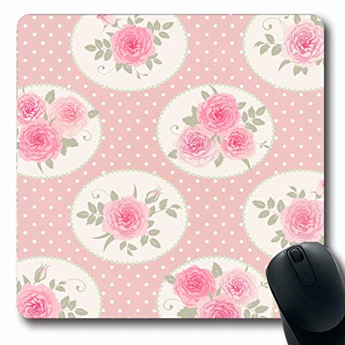 Ahawoso Mousepads Green Bouquet Floral Polka Dot Shabby Abstract White Vintage Pink Rose Bloom Booking Chic Classic Oblong Shape 7.9 x 9.5 Inches Non-Slip Gaming Mouse Pad Rubber Oblong Mat