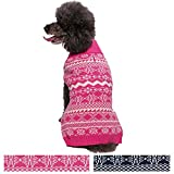 Blueberry Pet Vintage Tinsel Knit Fair Isle Dog Sweater in Hollywood Cerise, Back Length 12