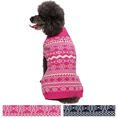 [Blueberry Pet Vintage Tinsel Knit Fair Isle Dog Sweater in Hollywood Cerise, Back Length 16