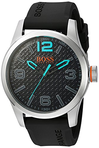 BOSS Orange Men's Quartz Stainless Steel and Resin Watch, Color:Grey (Model: 1513377)