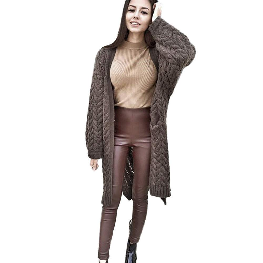 Kaffee Sweater color Women's Long Sleeve Oversized Summer Loose Cardigan Sweater Twist Outwear Coat Wild Tight for Women