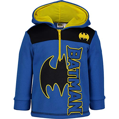 Batman Toddler Boys' Fleece Hoodie Pullover Sweatshirt with Zipper, Blue -