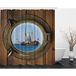 Ambesonne Better Curtains Pirate Ship Porthole Sailor Polyester Shower Curtain, 69 x 70-Inch