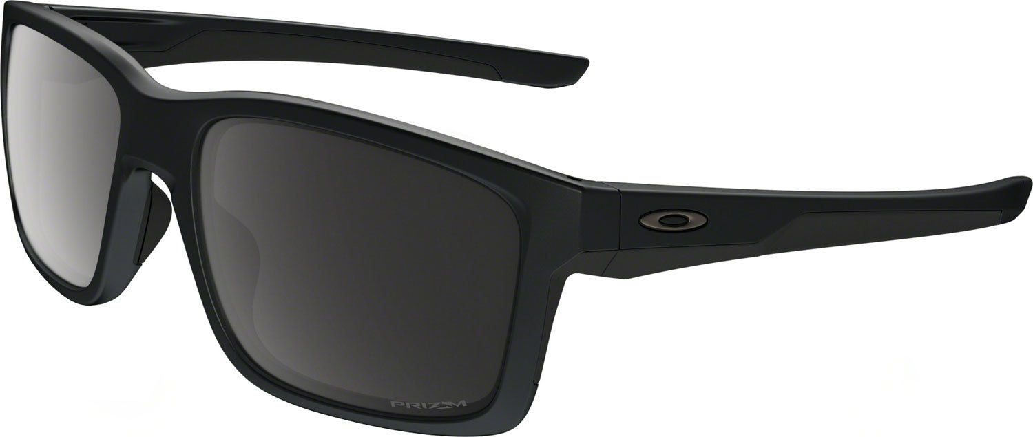 Oakley Men's OO9264 Mainlink Rectangular Sunglasses, Matte Black/Prizm Black Polarized, 57 mm by Oakley