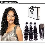 Debe Hair 9A Deep Curly Brazilian Hair 3 Bundles with Closure Free Part 4x4 Hair Weave Extensions 100% Unprocessed Virgin Hair Lace Closure Baby Hair (18 20 22+16 closure)