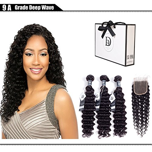 Debe Hair 9A Deep Curly Brazilian Hair 3 Bundles with Closure Free Part 4×4 Hair Weave Extensions 100% Unprocessed Virgin Hair Lace Closure Baby Hair (18 20 22+16 closure) For Sale