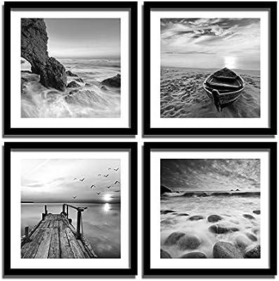 e91e741fad4a ENGLANT-4 Panels Set Framed Canvas Print for Seascape Beach and Boat ...