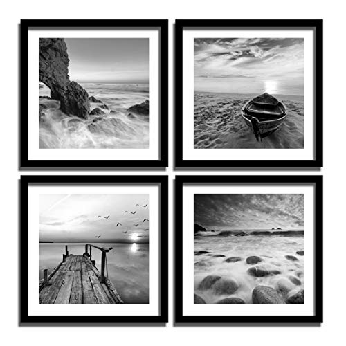 - ENGLANT-4 Panels Set Framed Canvas Print for Seascape Beach and Boat Sunrise Scenery Black and White Giclee Canvas Print Wall Art Ready to Hang