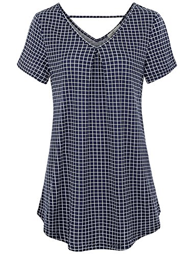 (Finice Print Blouse,Womens Tunic Tops V Neck Short Sleeve Leisure Checkered Grid Printed Sleek Knitted Shirt Wear to Work Career Apparel Navy Blue L)