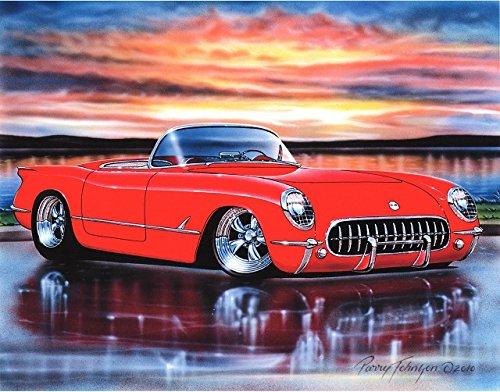 1953 Chevy Corvette Hot Rod Car Art Print Red 11x14 - 1953 Corvette Pictures