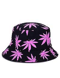 ZSAIMD Sombreros Bob Cap Verano de Las Mujeres de Protección Solar Casquillos de Arce Hojas de impresión Plegable del Sombrero del Cubo de los Hombres Floppy Algodón Pescador (Color : Purple)