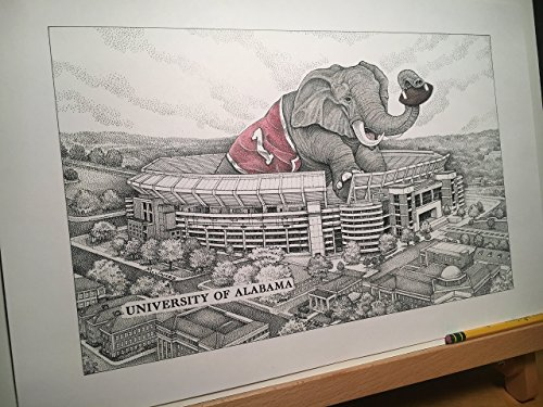 Alabama football stadium with elephant 11''x17'' pen and ink print from hand-drawn original by Campus Scenes (Image #2)