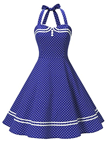 Bodice Halter Dress (Find Dress Women 50s Vintage Short Halter Cocktail Dress with Buttons 10387 Royal Blue Dot S)