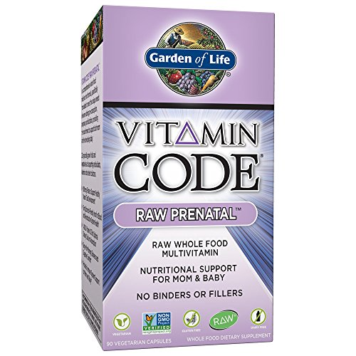 Garden of Life Vegetarian Prenatal Multivitamin Supplement with Folate - Vitamin Code Raw Prenatal Whole Food Vitamin for Mom and Baby, 90 Capsules (Raw Vitamin Code One)