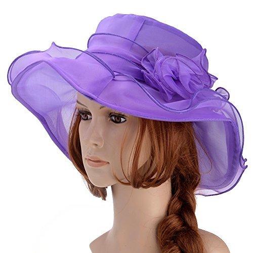 Vbiger Womens Kentucky Derby Hats Summer Wide Brim Sun Hat Flower Fascinator Hat Tea Party Wedding Hats Purple One Size