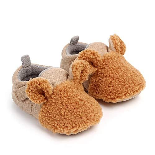 (Kinbor Baby Newborn Booties Cozy Fleece Warm Winter Infant Prewaler Toddler Snow Boots with Non Skid Bottom Crib Shoes for Girls Boys Khaki)