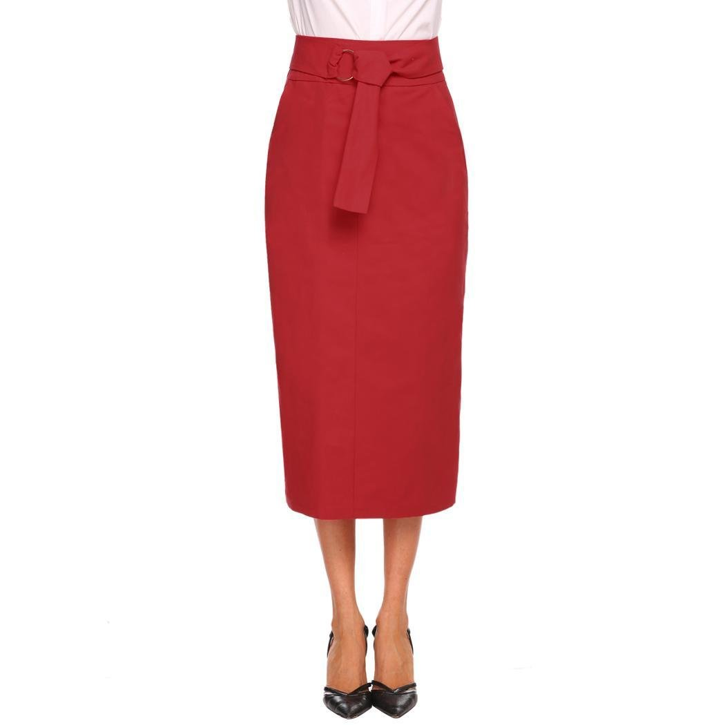 Women High Waist Solid Ankle Length Pencil Skirt Maxi Skirt with Belt at Amazon Womens Clothing store: