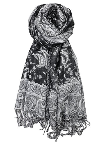 White Scarf Black (Achillea Soft Silky Reversible Paisley Pashmina Shawl Wrap Scarf w/Fringes (Black White))
