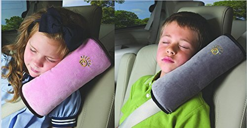 WP-TT® 2pcs Auto Pillow Car Safety Belt Protect, Shoulder Pad, Adjust Vehicle Seat Belt Cushion For Kids (Grey,Pink)