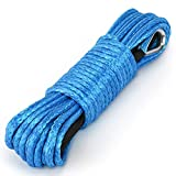 "Synthetic Winch Rope Kohree 1/4""x 50' 7700LBs ATV Winch Cable Line with 1.55m Black Protecing Sleeve for SUV UTV ATV Winches Truck Boat(Blue)"