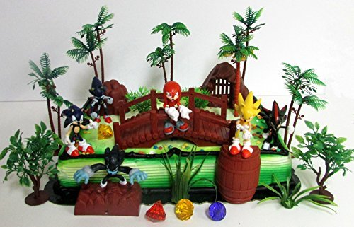 SONIC and Friends Deluxe Game Scene Birthday Party Cake Topper Featuring Sonic Figures and Decorative Themed Accessories ()