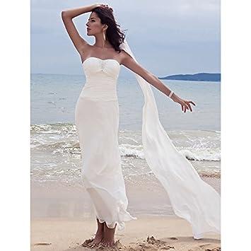 """kekafu Vaina / columna cariño Chiffon vestido de novia de longitud de tobillo con cordón """""""