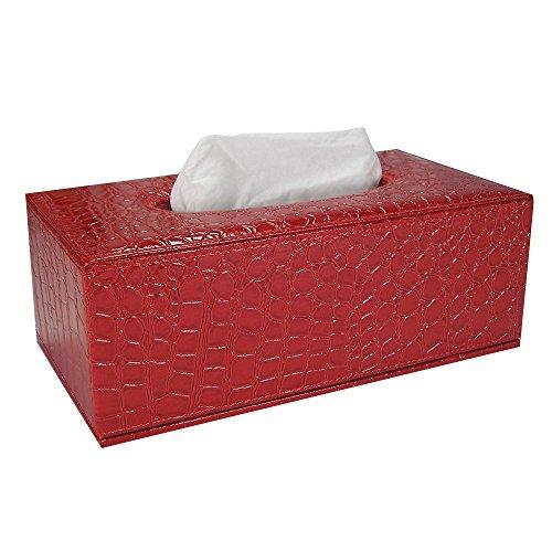 Kaimao Rectangular Pu Leather Facial Tissue Box Holder Cover Reusable Napkin Paper Box Case For