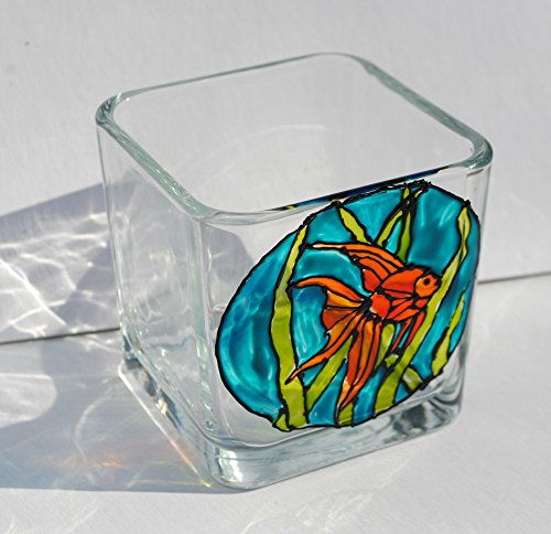 Goldfish Hand Painted Stained Glass Square Fish Candle Holder, Underwater Decor (Glass Fish Stained)
