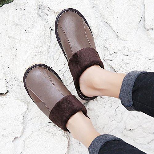 Soggiorno fankou Autunno Inverno cotone pantofole indoor uomini e donne coppie home pavimenti in legno caldo e pantofole inverno gancio ,41-42, grigio scuro