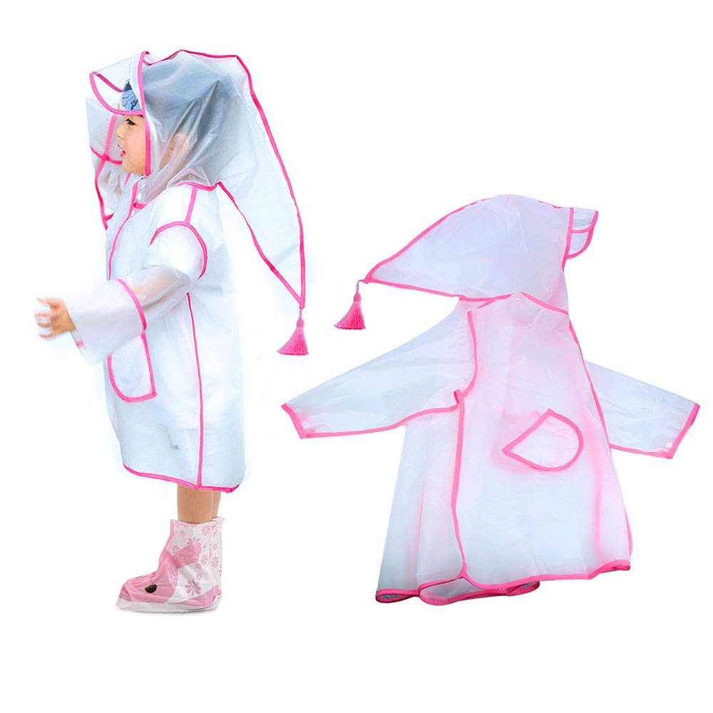 SSAWcasa Clear Kids Raincoat with Hood, Toddler Boy Girls Rain Coat Jacket Poncho Hooded