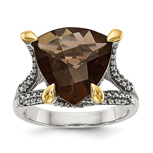 925 Sterling Silver 14k Smoky Quartz Band Ring Size 7.00 Gemstone Fine Jewelry For Women Gift Set (Oval Smoky Faceted Quartz Ring)