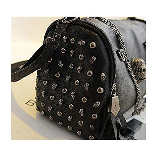 Leather Shoulder body Bag Black Skull Cross Girls FAIRYSAN Messenger Bag Handbag Faux Women Rivets Satchel Ladies PHTnqw0I