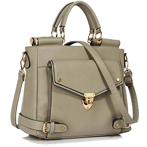Grey Large Top Grab Meeting Lock Business Faux Handle Satchels Size 237 Handbags Flap Office Clearance Leather Tote Twist Sale LeahWard B4dqwp64