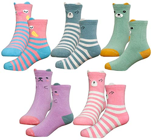 HzCodelo Kids Toddler Big Little Girls Fashion Cotton Crew Cute Socks -5 Pairs Gift Set,Multicolor-POS,Shoe size 12.5-3/L -