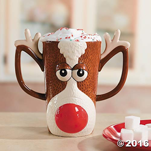 Reindeer Face Holiday Mug w/ Red Nose and Antlers by FE ()