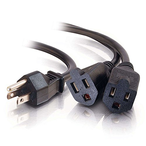 C2G/Cables to Go 29802 16 AWG 1-to-4 Power Cord Splitter (NEMA 5-15P to 4 NEMA 5-15R) TAA Compliant, Black (18 Inch)