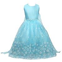 Acecharming Princess Snowflakes Dress Long Cape Dress Costume (3-4Y) Blue