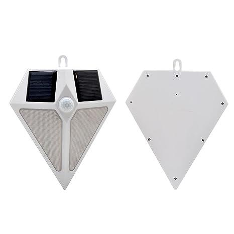 Solar apliques Sensor de movimiento exterior impermeable Bombilla Luz Diamante Forma Seguridad lámpara de pared para