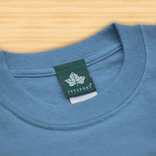 Grey Cotton Poly Blend NCAA Colleges Ivysport Short Sleeve T-Shirt Heritage Logo
