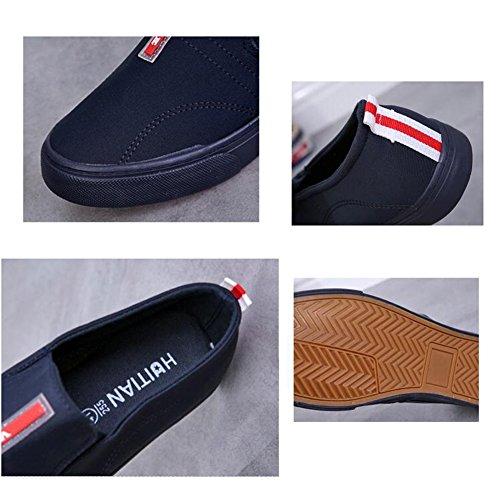 Estudiantes Zapatos de hombres HUAN Alpargatas planos cubierta casuales para Zapatos Mocasines Zapatos Blue lona de q5PRr5F7