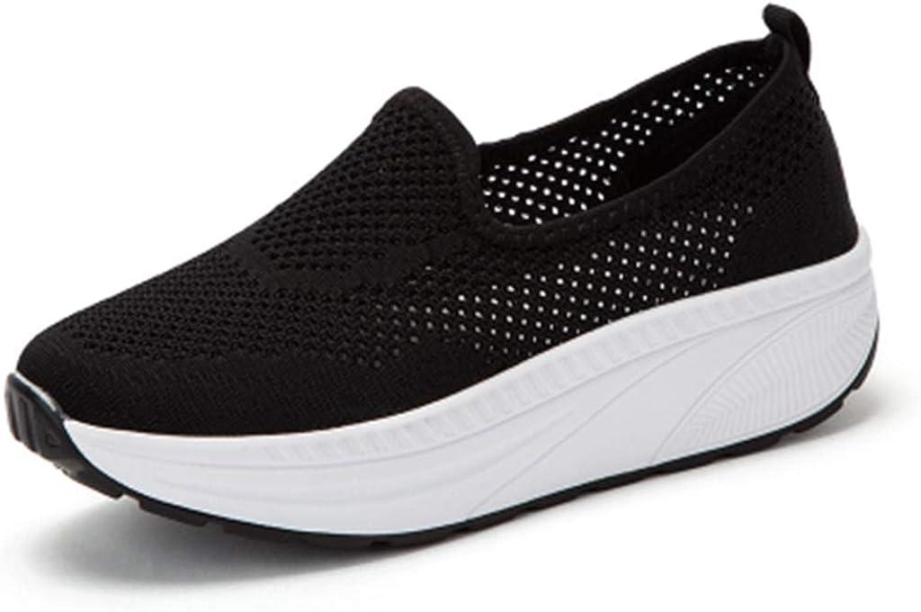 GIY Women's Mesh Slip On Wedges Platform Walking Shoes Comfort Lightweight Slip-on Fitness Work Out Sneaker Shoes